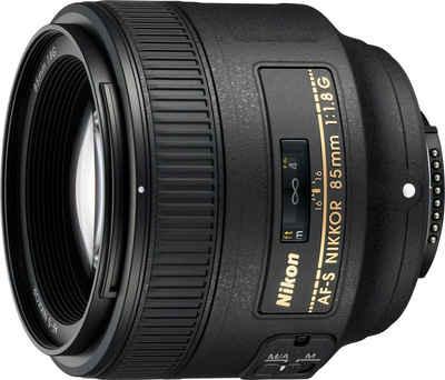 Nikon »AF-S NIKKOR 85 mm 1:1.8G« Objektiv, (INKL. HB-62 und CL-1015)