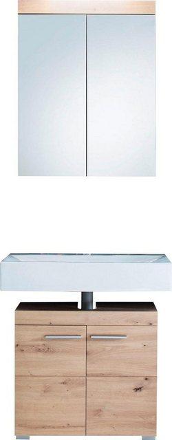 Badezimmer Sets - trendteam Badmöbel Set »Amanda«, (Set, 2 tlg), mit Spiegelschrank und Waschbeckenunterschrank, MDF Fronten in Hochglanz oder Holzoptik  - Onlineshop OTTO
