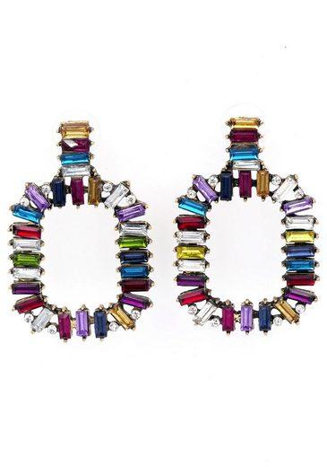 J.Jayz Paar Ohrstecker »in geometrischer Form, bunte Vielfalt«, mit Glassteinen
