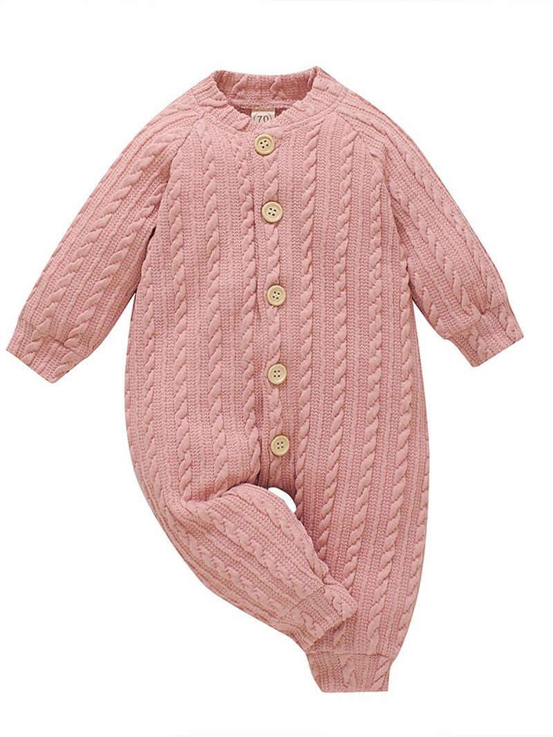LAPA Strampler »Unisex Baby einfarbig gestrickter Jacquard-Body mit Lange Ärmel Strampler«