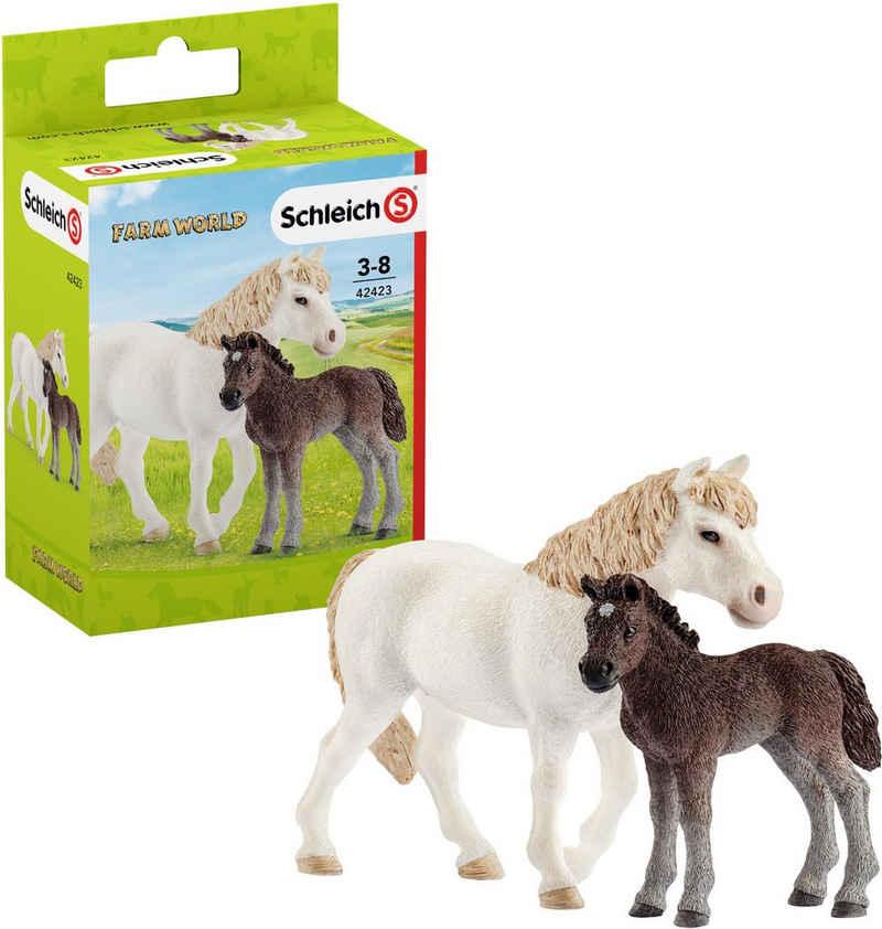 Schleich® Spielfigur »Farm World, Pony Stute mit Fohlen (42423)«, (Set)
