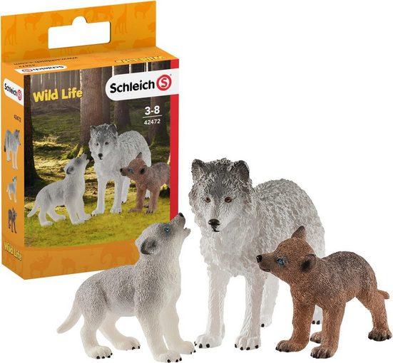 Schleich® Spielfigur »Wild Life, Wolfsmutter mit Welpen (42472)«, (Set)