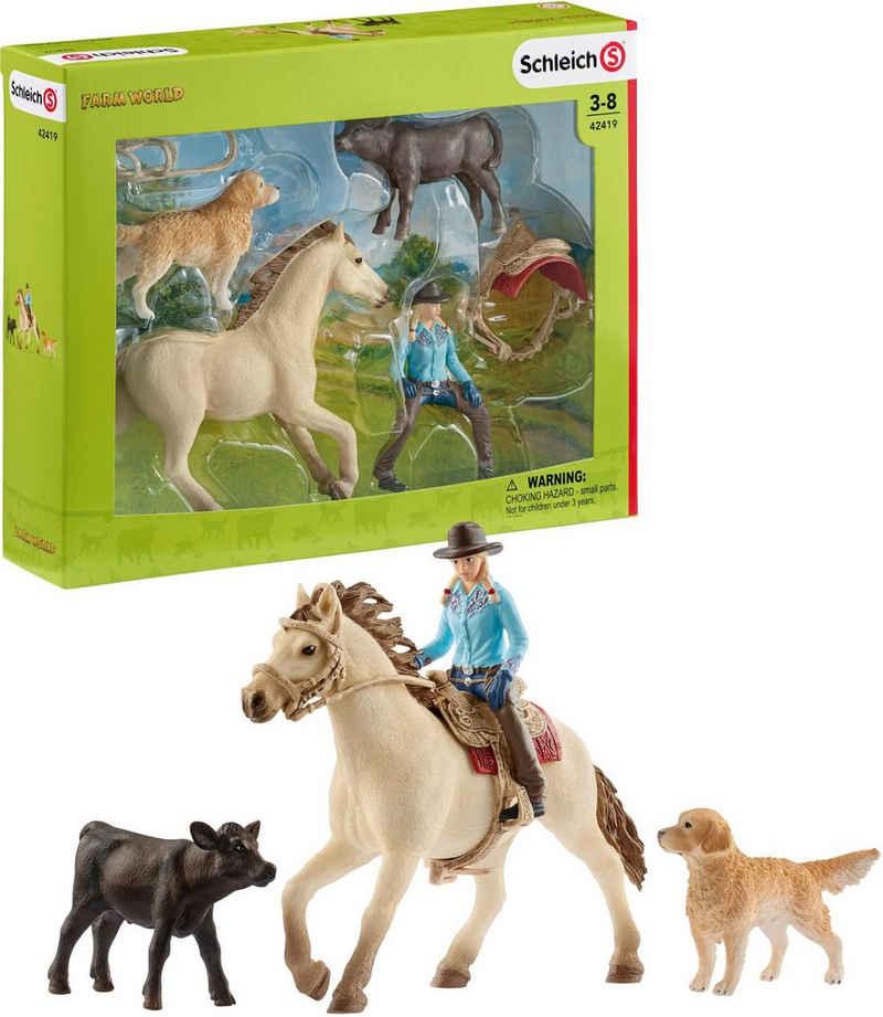 Schleich® Spielfigur »Farm World, Westernreiten (42419)«, (Set)