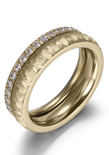Firetti Ring-Set »2,0 mm, 4,0 mm, glänzend, matt, gekratzt, strukturiert, IP-beschichtet« (Set, 2-tlg), mit Zirkonia