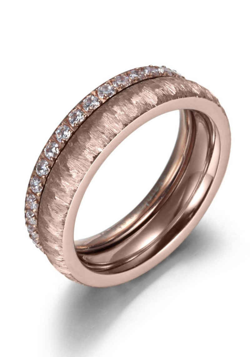 Firetti Ring-Set »2,0 mm, 4,0 mm, Glanzoptik, matt, gekratzt, strukturiert, IP-beschichtet« (Set, 2-tlg), mit Zirkonia