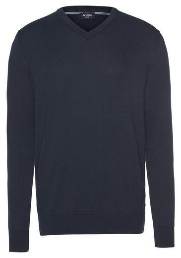Joop Jeans V-Ausschnitt-Pullover mit farblich passender Logo- Stickerei