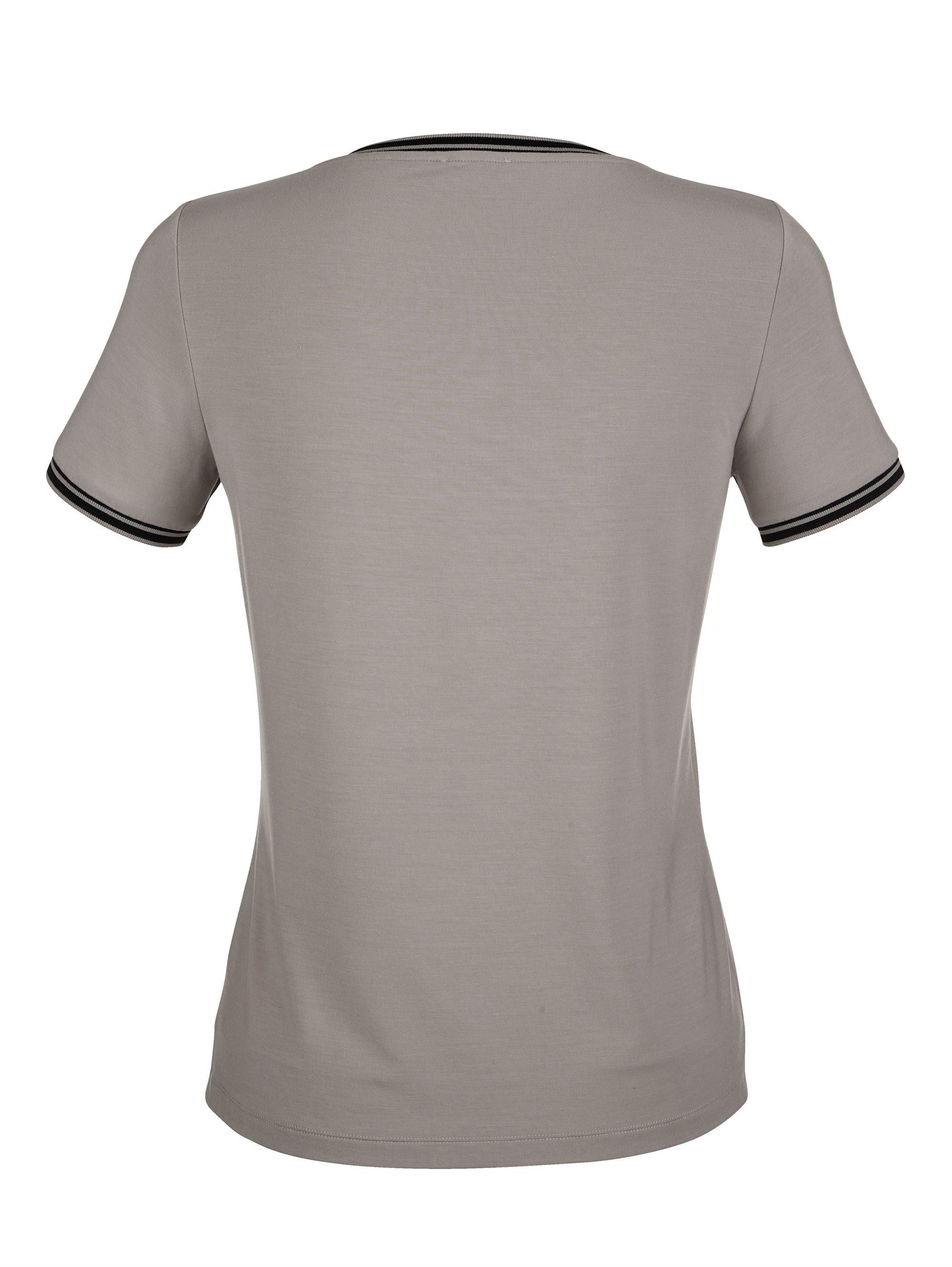 Alba Moda Shirt Aus Sehr Softer Qualität Ausschnitt Und Ärmelsaum Mit Streifenblenden Abgespaspelt Online Kaufen