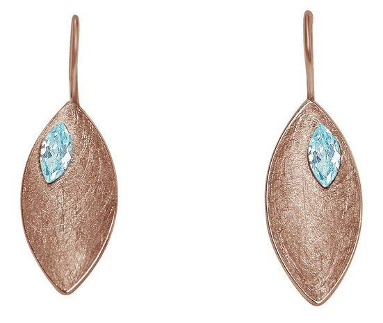 Gemshine Paar Ohrhänger »MARQUISE Matt mit Edelsteinen« Manufaktur mit natürlichen Edelsteinen