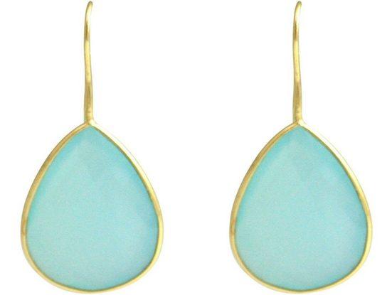 Gemshine Paar Ohrhänger »Meeresgrüne Chalcedon Tropfen«, Manufaktur mit natürlichen Edelsteinen