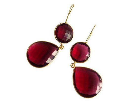 Gemshine Paar Ohrhänger »Rote Edelstein Tropfen«, Made in Spain