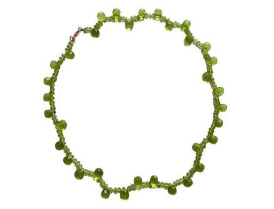 Gemshine Perlenkette »Peridot Tropfen Kaskade«, Made in Germany