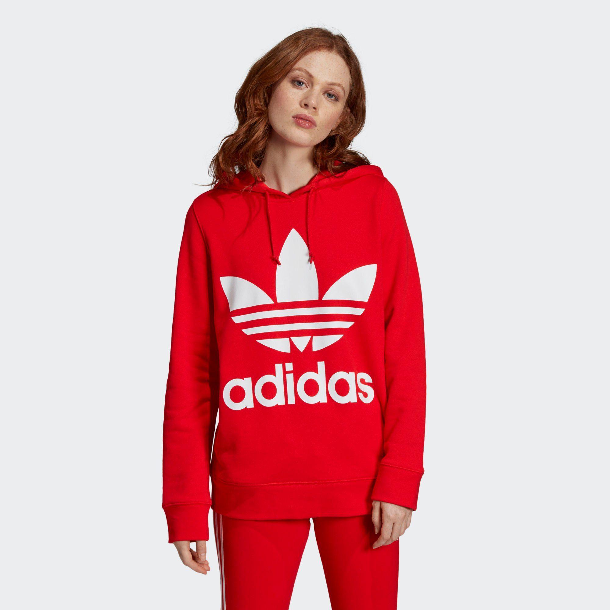 V Day Trefoil Hoodie | Red hoodie, Adidas trefoil hoodie