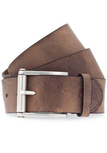 MUSTANG Ledergürtel mit Logo-Prägung auf der Spitze