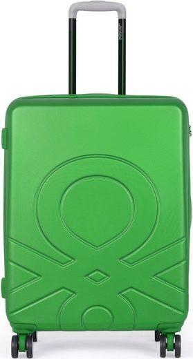 United Colors of Benetton Hartschalen-Trolley »Ultra Logo, 55 cm, green«, 4 Rollen