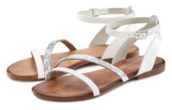LASCANA Sandale aus Leder mit Glitzerdetails