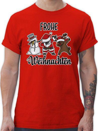 Shirtracer T-Shirt »Frohe Weihnachten mit Dabbing Figuren - weiß - Weihnachten & Silvester Geschenke - Herren Premium T-Shirt« Neujahrsgeschenke Party Deko