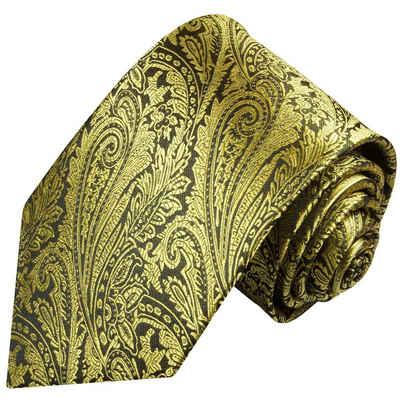 Paul Malone Krawatte »Herren Seidenkrawatte Schlips modern paisley floral 100% Seide« Schmal (6cm), gold schwarz 358