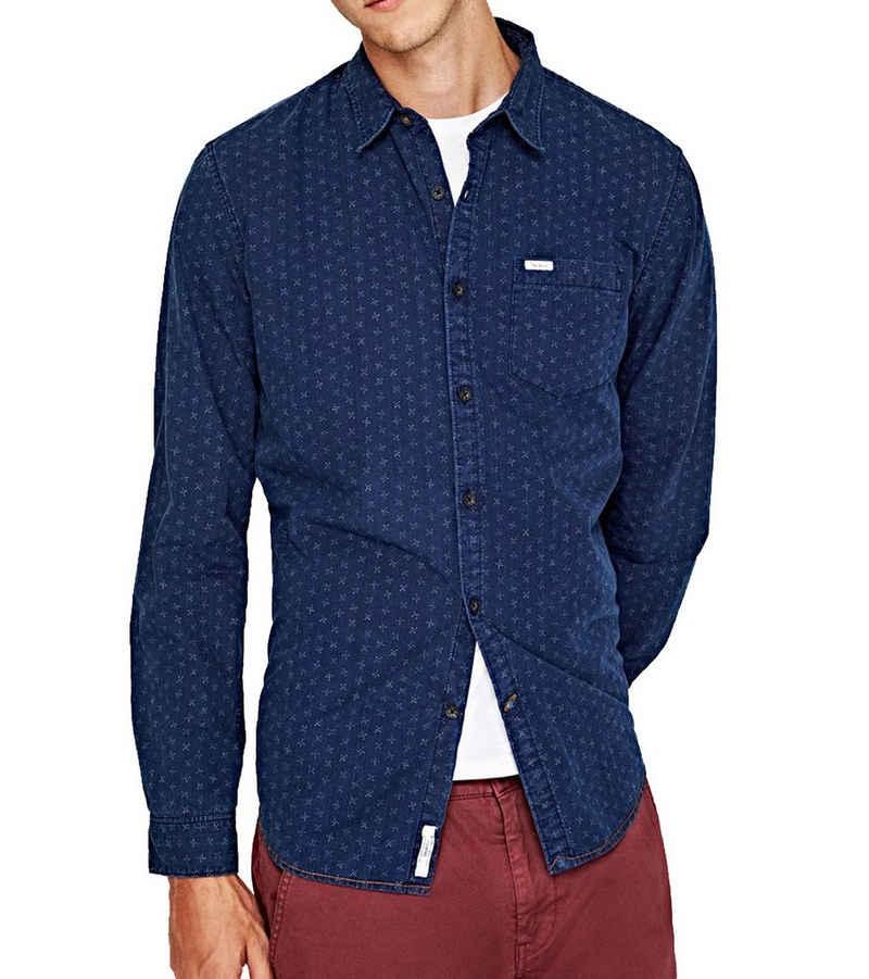 Pepe Jeans Langarmhemd »Pepe Jeans Langarm-Hemd bequemes Herren Kent Kragen Hemd mit Allovermuster Freizeit-Shirt Blau«