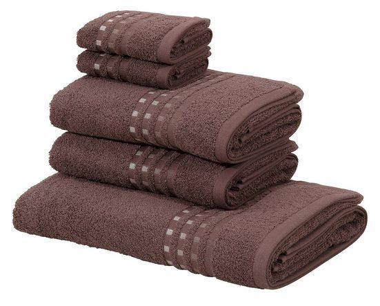 Home affaire Handtuch Set »Kelly« (Set, 5-tlg), mit Farbverlauf in Bordüre