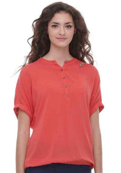 Ragwear Shirttop »RICOTA« mit holzfarbigen Zierknopfbesatz