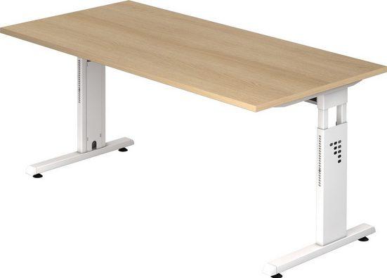 bümö Schreibtisch »OM-OS16-W«, höhenverstellbar - Rechteck: 160x80 cm - Gestell: Weiß, Dekor: Eiche