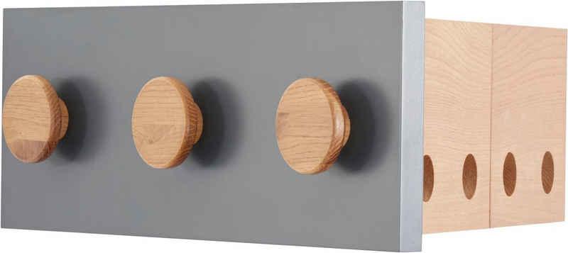 andas Hakenleiste »Folder«, aus Eiche, Hakenleiste mit 3 Haken, platzsparende Klappfunktion für 4 Bügel, Breite 50cm, Design by Michael Hilgers