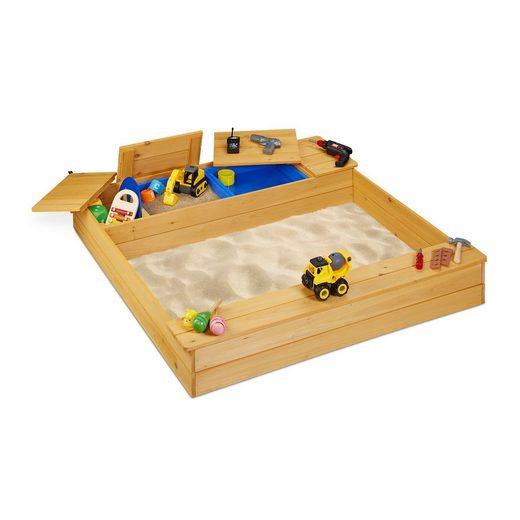 relaxdays Sandkasten »Sandkasten mit Matschfach«