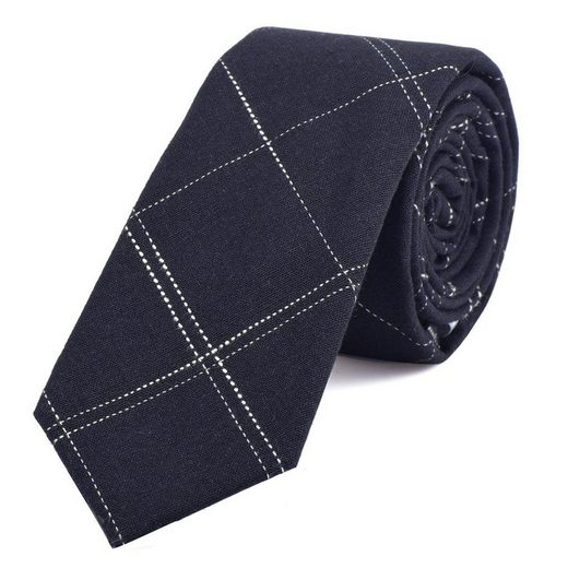 DonDon Krawatte »Herren Krawatte 6 cm« (1-St) Baumwolle, kariert oder gestreift, für Büro oder festliche Veranstaltungen