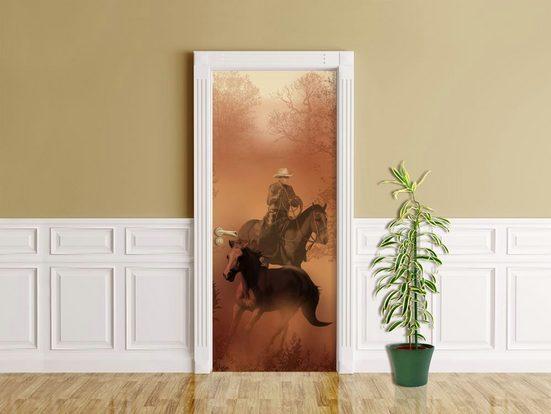 Bilderdepot24 Türtapete, Cowboy mit Pferden, selbstklebendes Vinyl