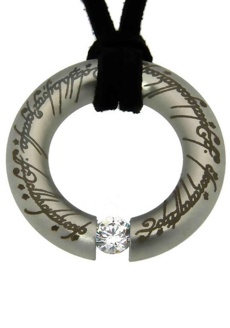 Der Herr der Ringe Kette mit Anhänger »Der Eine Ring Anhänger mit elbische Runen, 20002149«, Made in Germany - mit Zirkonia (synth)
