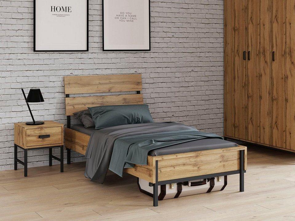 Inosign Bett Aubetin Toller Materialmix Aus Holz Und Metall Online Kaufen Otto
