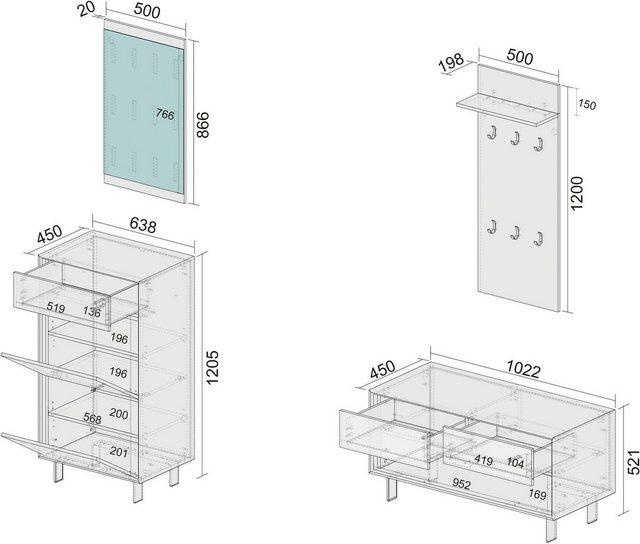 Garderoben Sets - INOSIGN Garderoben Set »Morin«, (Set, 4 tlg), mit attraktivem Snake Print  - Onlineshop OTTO