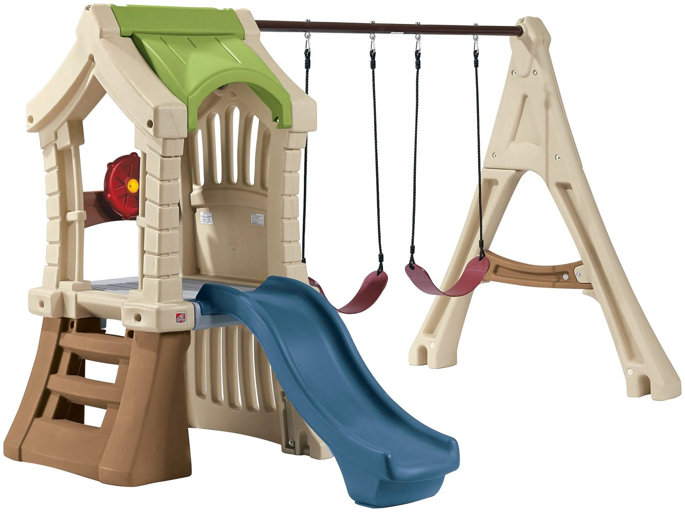 Märchenschloss Kunststoff Spielturm mit Schaukeln & Rutsche*