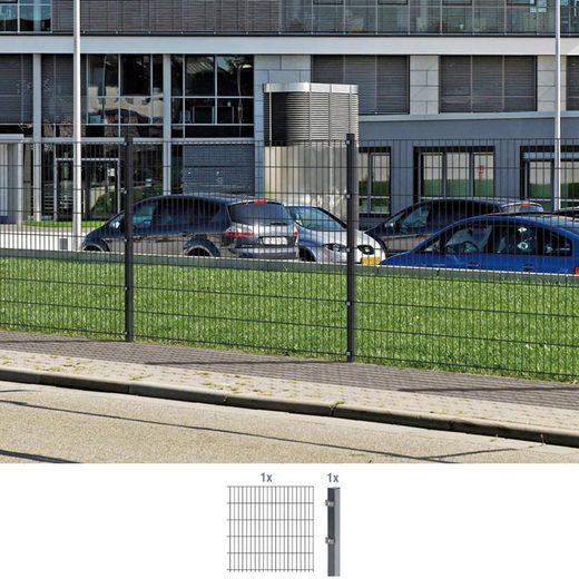 GAH ALBERTS Doppelstabmattenzaun Anbauset 80 cm hoch, 1 Matte 2 m, 1 Pfosten