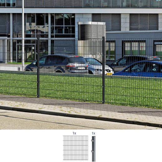 GAH ALBERTS Doppelstabmattenzaun Anbauset 100 cm hoch, 1 Matte 2 m, 1 Pfosten