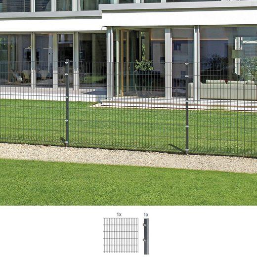 GAH ALBERTS Doppelstabmattenzaun Anbauset 140 cm hoch, 1 Matte 2 m, 1 Pfosten