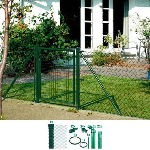 GAH ALBERTS Set: Maschendrahtzaun 80 cm hoch, 60 m, grün beschichtet, zum Einbetonieren
