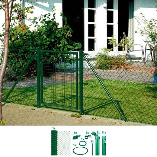 GAH ALBERTS Set: Maschendrahtzaun 125 cm hoch, 25 m, grün beschichtet, zum Einbetonieren