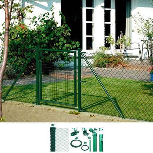 GAH ALBERTS Set: Maschendrahtzaun 125 cm hoch, 75 m, grün beschichtet, zum Einbetonieren