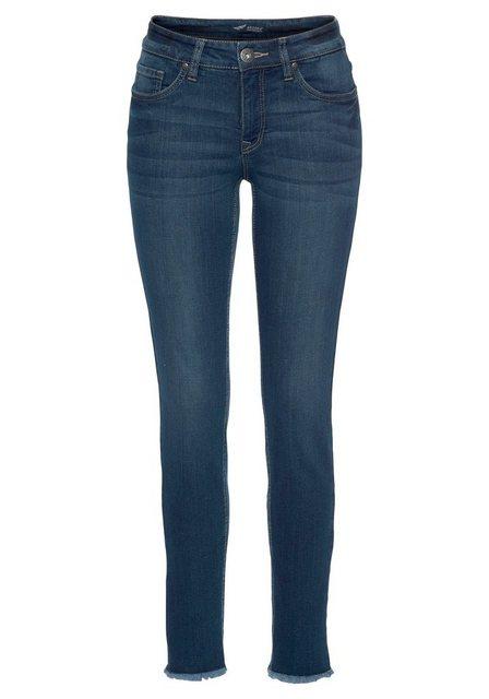 Hosen - Arizona Skinny fit Jeans »knöchellang mit Fransensaum« Mid Waist › blau  - Onlineshop OTTO