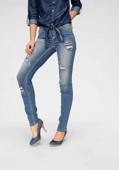 Arizona Slim-fit-Jeans »mit sichtbarer, schräger Knopfleiste« Mid Waist