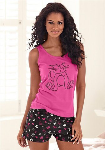 Vivance Dreams Shorty mit Allover-Katzenprint in pink