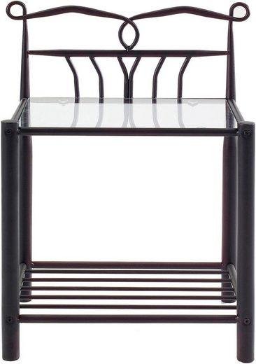andas Nachttisch »Ollient«, aus schönem Metall, mit einer Glastischplatte und einer Ablagefläche, Breite 50 cm
