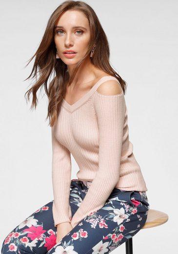 Laura Scott V-Ausschnitt-Pullover mit extravaganter Schulterpartie