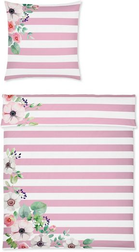 Bettwäsche »Frame«, Yes for Bed, mit Streifen und Blumen