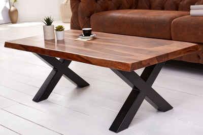riess-ambiente Couchtisch »AMAZONAS 110cm braun«, Wohnzimmertisch · Massivholz · Baumkante · X-Gestell · 4cm Tischplatte · Sheesham