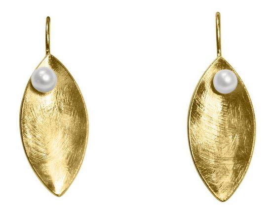 Gemshine Paar Ohrhänger »MARQUISE SCHALE Matt mit weißer Zuchtperle« Made in Spain