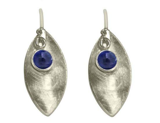 Gemshine Paar Ohrhänger »MARQUISE Matt mit Saphiren Midnight Blau« Made in Spain