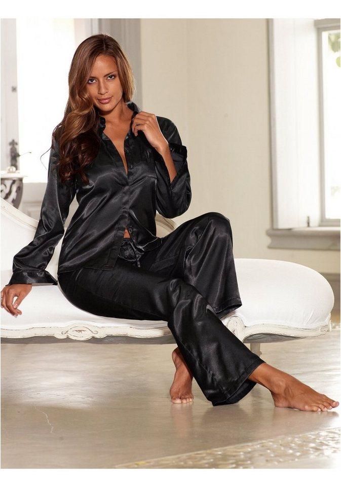 LASCANA Satinpyjama mit Hemdkragen & Knopfleiste in schwarz