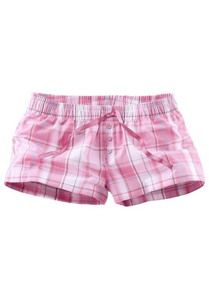 Petite Fleur Karierte Shorts mit Tunnelzugbund & Zierknöpfen in rosa kariert